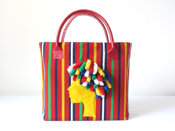 Fabric Bag with face felt appliqué by Ema's Corner