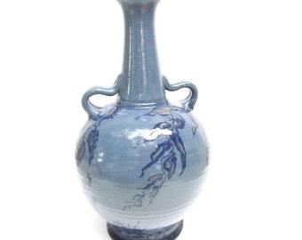 VINTAGE vase, Ozark pottery, Hand made Pottery,Blue Vase,Ozarks, Pottery,blue,OOAK, jug