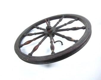 Antique wheel,spinning wheel,sewing machine wheel,wall decor,wood wheel,dark wood,