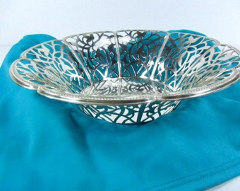Vintage Silver bowl, Silver candy dish, serving bowl, candle holder, silver lace bowl, german silver,silver dish,filigree,