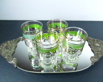 Glassware, mid century decor,drinking glass,green glass, mad men,glasses,gold