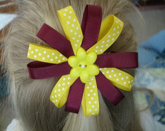 Daisy hair bow clip in maroon and gold with a button accent