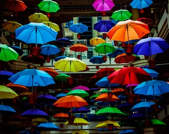 Umbrella's - Melbourne, Australia, Spring, Vibrant colors, Art Installation, Bright, Cheerful, Fine Art Photograph