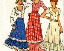 FABRIC SEWING WESTERN Style Square Dancing Pattern - Blouse and Skirt - Size 9/10 - Butterick 6086  Uncut Ff 1970's - Kenyon Books