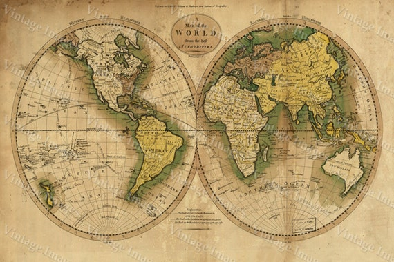 Giant Historic Map 1780 Old Antique World Map Restoration Hardware Style atlas to Guthrie's system of geography Fine Art Print Wall poster