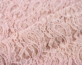 Masala Pink Pale Stretchy Lace Fabric by the Yard, for Bridal, Arts and Crafts, Decoration - 1 Yard Style 310
