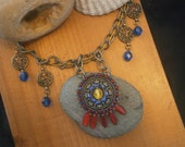 Upcycled Necklace Antique Gold, Blue, Red, Yellow