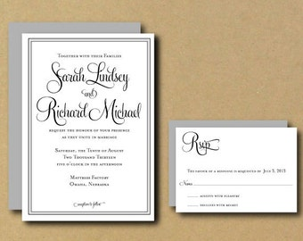 Printable Custom DIY Wedding Invitation - Whimsical Calligraphy Border