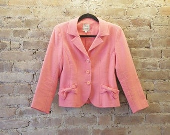 "DESIGNER ""Nanette Lepore"" amazing pretty in pink blazer with bow detail pockets and floral buttons"