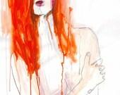 Original Drawing - Nude - Portrait - Paper - Acrylic - Charcoal - figure- woman
