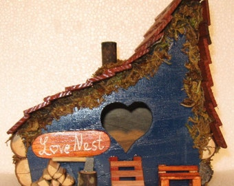 Hand Crafted From Reclaimed Wood Blue Love Nest Bird House