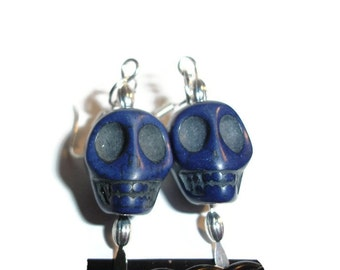 Blue Skull and Silver Earrings