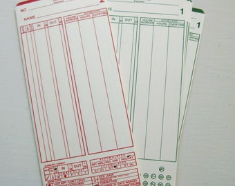 Set of 20 vintage time clock punch cards. Retirement party invites. New job. Time cards.