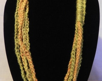 Green and Orange Crochet Chain Scarf Necklace