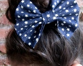 Navy Blue  Hair Bow - AccessoriesForFionna