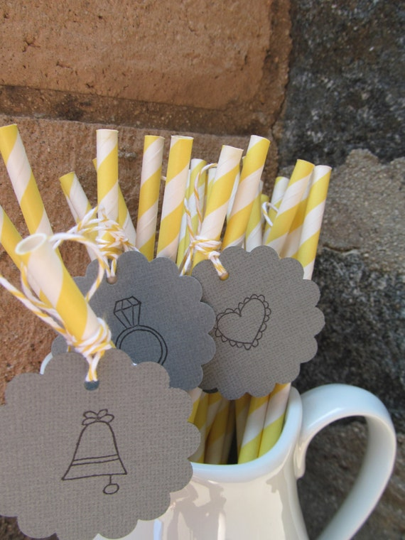 12 Yellow Stripe Paper Drinking Straws with  Gray Tags Perfect for Weddings. Bridal Showers.