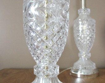 Vintage Glass Lamps. A Pair of Hollywood Regency Lamps.
