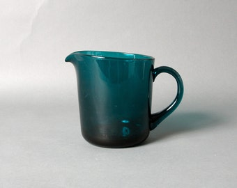 Kaj Franck glass pitcher, Iittala pitcher, Nuutajarvi notsjo pitcher, Blue glass pitcher, Modern pitcher, Mid century pitcher, Scandinavian