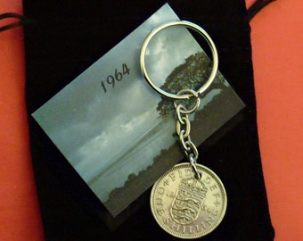 1964 Old English Shilling Coin Keyring Key Chain Fob Queen Elizabeth