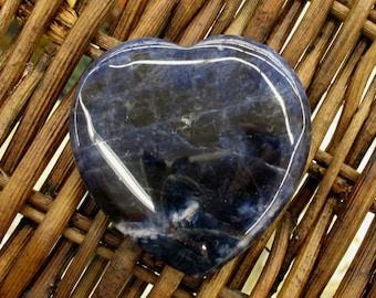 Dark Sodalite Flat Heart, 45 mm - Item 55128