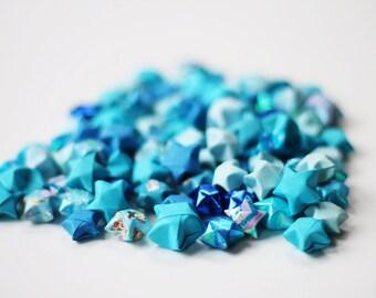Blue lucky stars - handfolded origami stars 100 pieces - handmade Japanese paper stars