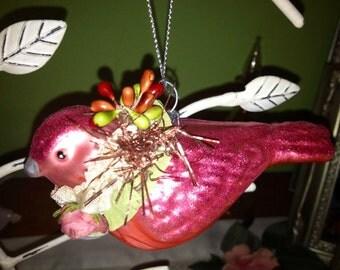 Beautiful, Ooak, Blown Glass Bird Ornament.