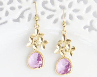 mothers day purple dangle earrings cherry blossom dangle. Black Bedroom Furniture Sets. Home Design Ideas