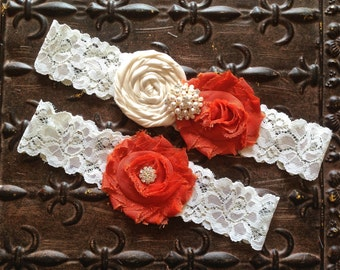 Burnt Orange Wedding Garter, Koi Bridal Garter - Ivory Lace Garter, Burnt Orange Ivory Garter, Wedding Garter Set, Orange Garter Set
