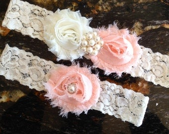 Wedding Garter, Bridal Garter - Peach Garter Set, Ivory Lace Garter, Peach and Ivory Garter, Peach Bridal Garter, Wedding Garter Set