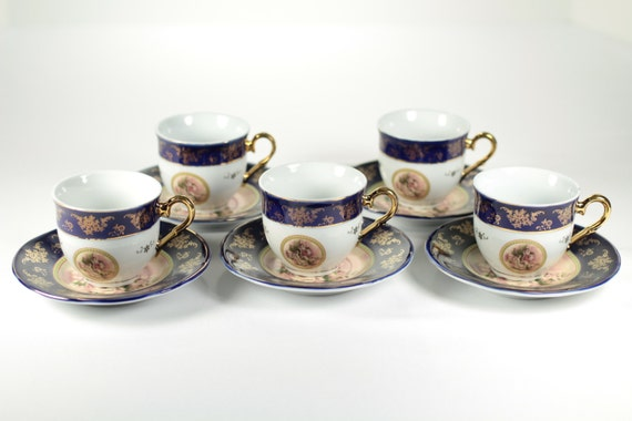 Stunning alpine cuisine espresso cup and saucer 24k gold trim for Alpine cuisine coffee cups