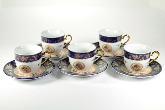 Stunning alpine cuisine espresso cup and saucer 24k gold trim for Alpine cuisine fine porcelain