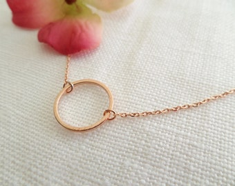 Rose Gold Karma Infinity Eternity Circle Ring Necklace...dainty handmade necklace, everyday, simple, birthday, wedding, bridesmaid jewelry