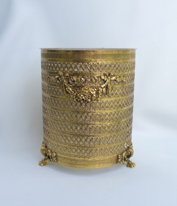 Gold filigree wastebasket hollywood regency 1970 39 s with for Gold bathroom wastebasket
