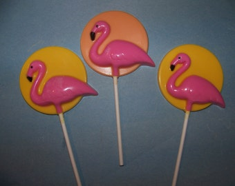 10 Pc. Pink Flamingo Sunset Lollipops
