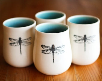 Made to Order : Small porcelain cup with silk screened Dragonfly image