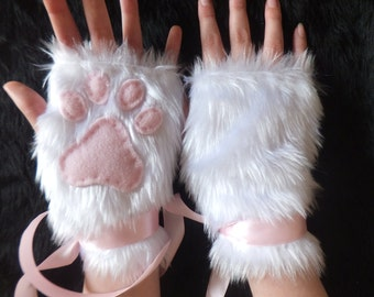 Cute White Furry Cat Snow Fox Neko Pink Paw Print Fingerless Gloves Wrist Warmers Halloween Costume