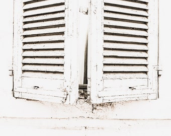 French Country Photo, French Country Print, French Country Decor, French Shutters, White Shutters, French Country Bedroom Decor, Rustic
