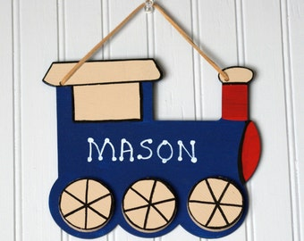 Personalized Boy's Name Plaque. TRAIN Room Sign. Hand Lettered. Boy's Door Sign. Boy's Room Decor. Kid's Room Sign. Children's Name Sign.