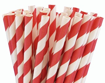 25 Red Striped Paper Straws-7.75 Inches-Party Straws-Shower-Wedding-Party-Biodegradable