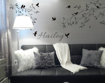 Nursery wall Decal Wall Sticker Baby Kids room Decals-Tree branch with name Decal-DK128