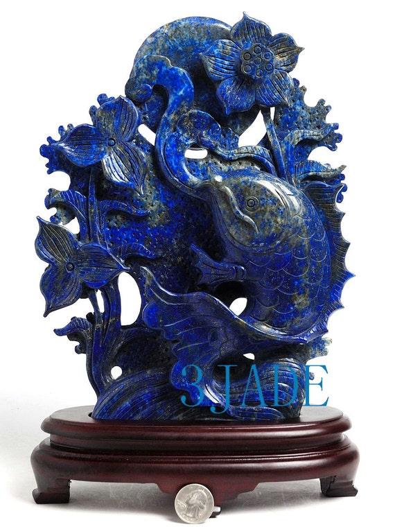 12 natural lapis lazuli koi fish statue carving by 3jadestore for Koi fish statue