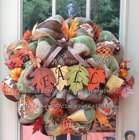 Sale Fall Leaf Wreath Fall Wreath Deco Mesh Burlap Door