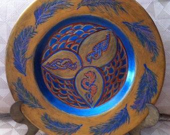 """Hand Painted Gold Blue Orange Feather Plate 11""""  P0002"""