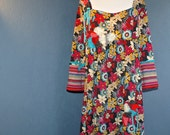 Upcycled Gypsy Boho Dress. Bold Fall Colors, Flowers, Three Dimensional Embellishments. Plus/XXL