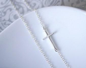 Silver Sideways Cross Necklace, Sterling Silver Sideways Cross Necklace