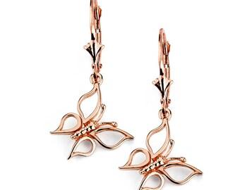 14k Butterfly Earrings, Gold Butterfly Earrings, Butterfly Earrings, Butterfly Jewelry, Dangle Earrings, Gold Earrings