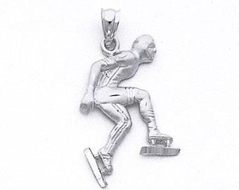 Speed Skater,Winter Olympics,Male Skater,Skater Pendant,Sports,Ski,Skater Charm,Ice Skating,Sterling Silver,Skater Necklace,Male Jewelry