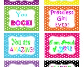 INSTANT DOWNLOAD Girls Lunchbox Notes Printable PDF's- Back to School