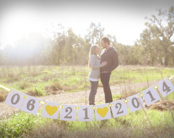 mini Save the Date Banner / Wedding Garland / Wedding Date Banner / Save the Date Props / Engagement Cards / Photo Prop / Wedding Decoration
