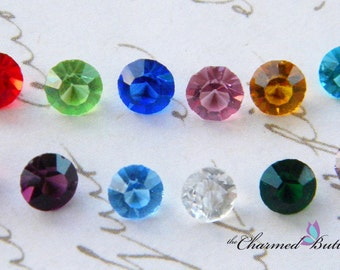 Round Crystal Birthstone Floating Locket Charm- You Choose Birthstone